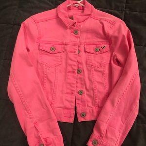 Pink crop jean jacket